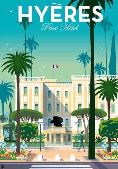 Hyeres Parc Hotel France Poster   Vintage Travel Posters 1891-1970
