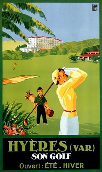 Hyeres Var Son Golf ouvert Ete Hiver | Vintage Travel Posters 1891-1970
