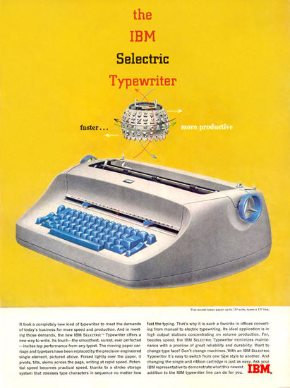 IBM Selectric Typewriter | Vintage Ad and Cover Art 1891-1970
