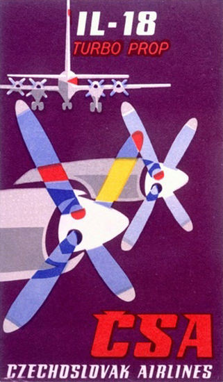 IL-18-Turbo-Prop Czech Airlines | Vintage Travel Posters 1891-1970