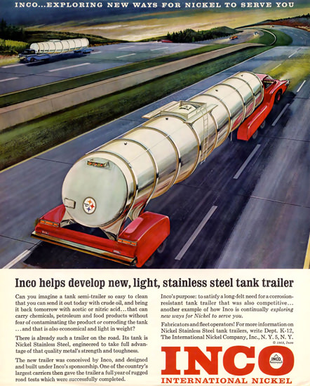 INCO International Nickel Stainless Steel Trailer | Vintage Ad and Cover Art 1891-1970