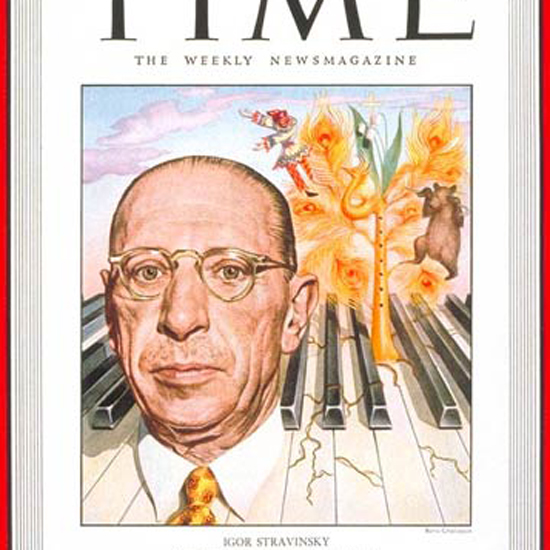 Igor Stravinsky Time Magazine 1948-07 by Boris Chaliapin crop   Best of Vintage Cover Art 1900-1970