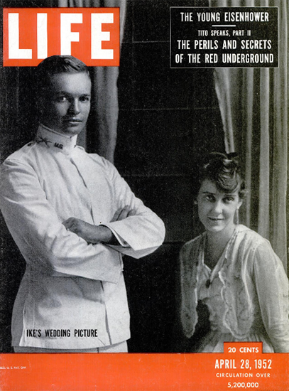 Ikes Wedding Picture 28 Apr 1952 Copyright Life Magazine | Life Magazine BW Photo Covers 1936-1970
