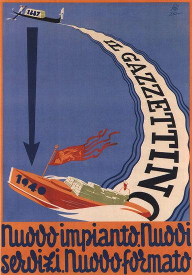 Il Gazzettino Nuovo Impianto 1940 Italy Italia | Vintage Ad and Cover Art 1891-1970