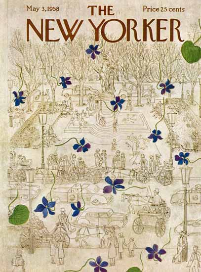 Ilonka Karasz The New Yorker 1958_05_03 Copyright | The New Yorker Graphic Art Covers 1946-1970