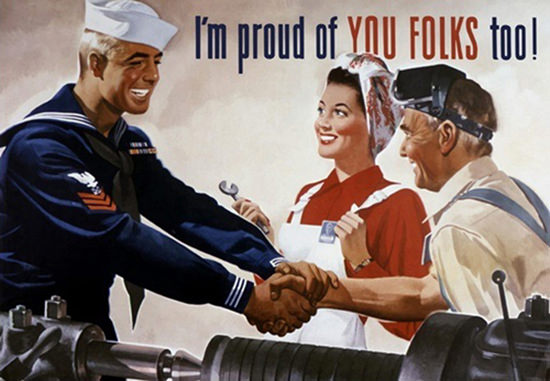Im Proud Of You Folks Too Sailor Shaking Hands | Vintage War Propaganda Posters 1891-1970
