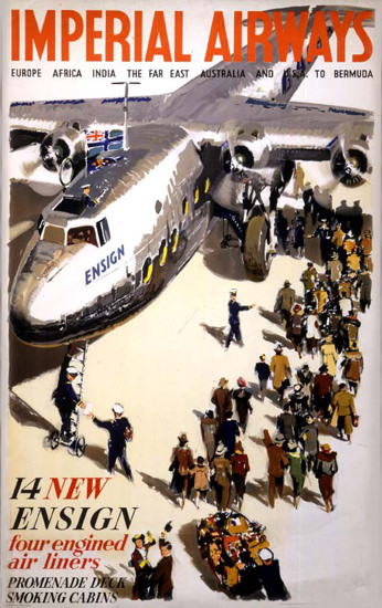 Imperial Airways 14 Four Engined Air Liners 1938 | Vintage Travel Posters 1891-1970
