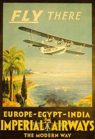 Imperial Airways Fly There Europe Egypt 1920s | Vintage Travel Posters 1891-1970