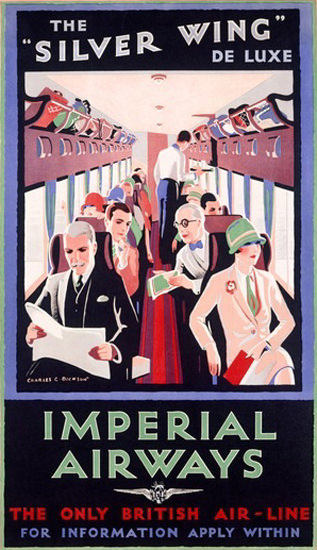 Imperial Airways Silver Wing De Luxe British Air | Vintage Travel Posters 1891-1970