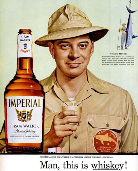 Imperial Whiskey Chuck Meyer 1955 Tackle | Vintage Ad and Cover Art 1891-1970