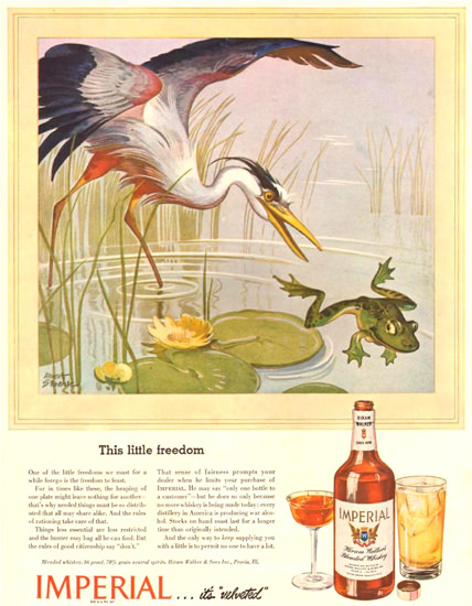 Imperial Whiskey This Little Freedom 1943 | Vintage Ad and Cover Art 1891-1970