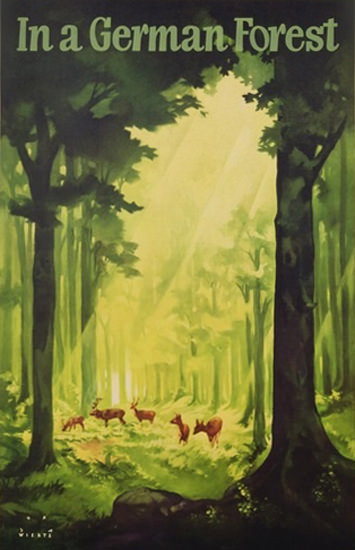 In A German Forest Deer Germany Tourism 1935 | Vintage Travel Posters 1891-1970