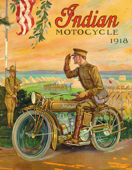 Indian Motocycle 1918 | Vintage Travel Posters 1891-1970