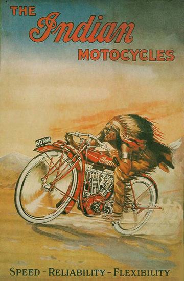 Indian Motorcycles 1914 Speed Reliability | Vintage Travel Posters 1891-1970