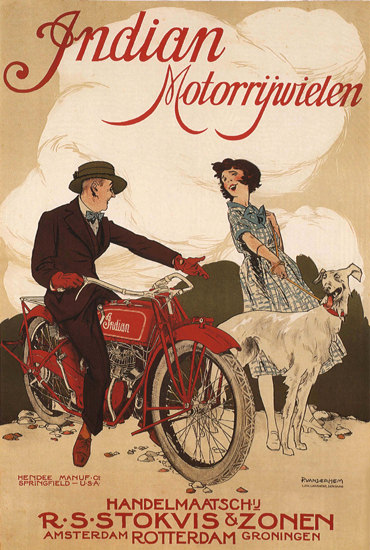 Indian Motorrijwielen Rotterdam Netherlands | Vintage Travel Posters 1891-1970
