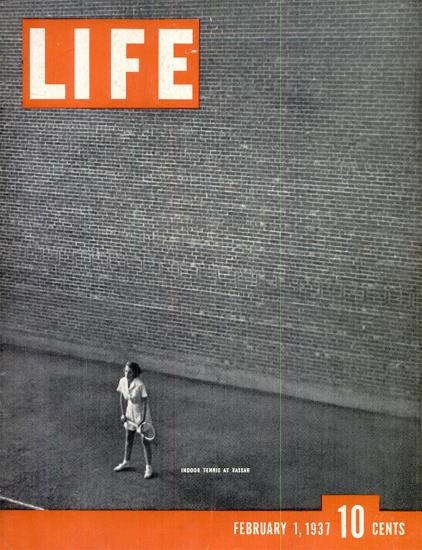 Indoor Tennis at Vassar 1 Feb 1937 Copyright Life Magazine   Life Magazine BW Photo Covers 1936-1970