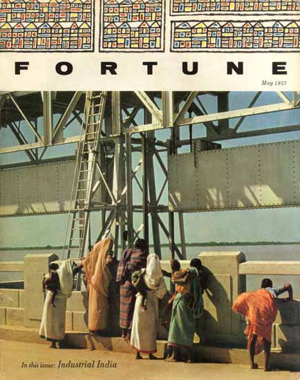 Industrial India Fortune Magazine May 1957 Copyright   Fortune Magazine Graphic Art Covers 1930-1959