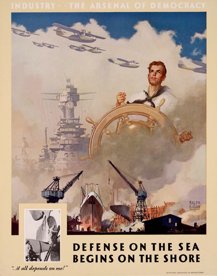 Industry The Arsenal Of Democracy On Shore | Vintage War Propaganda Posters 1891-1970