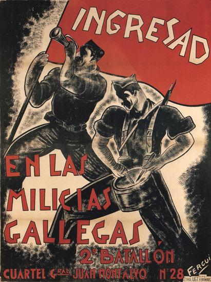 Ingresad En Las Milicias Gallegas Spain Espana | Vintage War Propaganda Posters 1891-1970