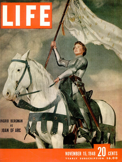 Ingrid Bergman as Joan of Arc 15 Nov 1948 Copyright Life Magazine | Life Magazine Color Photo Covers 1937-1970