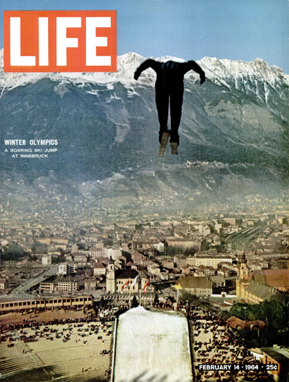 Innsbruck Winter Olympics Ski Jump 14 Feb 1964 Copyright Life Magazine | Life Magazine Color Photo Covers 1937-1970