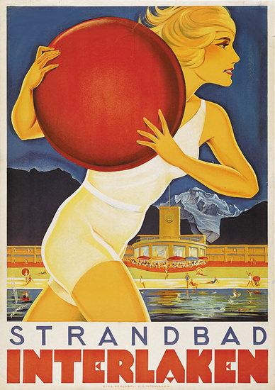 Interlaken Strandbad Girl 1930s Lido Switzerland | Sex Appeal Vintage Ads and Covers 1891-1970