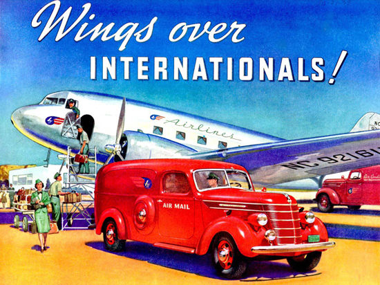 International Panel Truck At Airport 1940 | Vintage Cars 1891-1970
