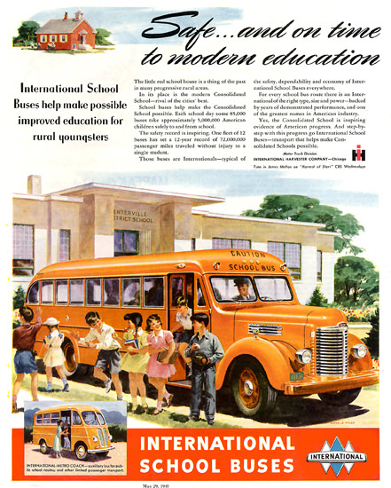 International School Buses Harvester Co 1948 | Vintage Cars 1891-1970