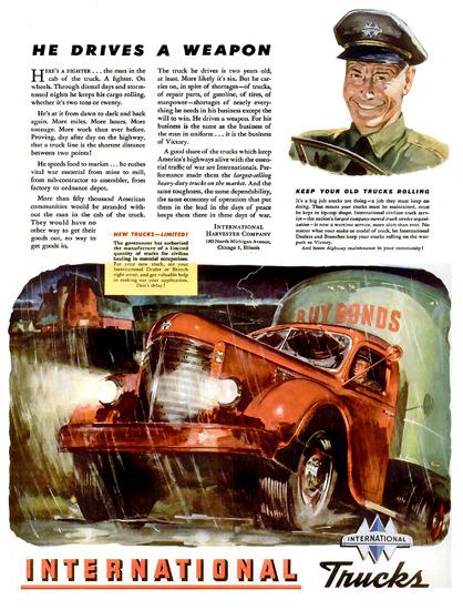 International Trucks He Drives A Weapon 1944 | Vintage War Propaganda Posters 1891-1970