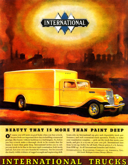 International Trucks Yellow Van 1934 | Vintage Cars 1891-1970