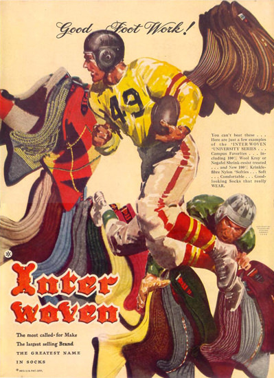 Interwoven Socks Football Good Foot Work 1948 | Vintage Ad and Cover Art 1891-1970