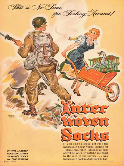 Interwoven Socks No Time Fooling Around 1945 | Vintage War Propaganda Posters 1891-1970