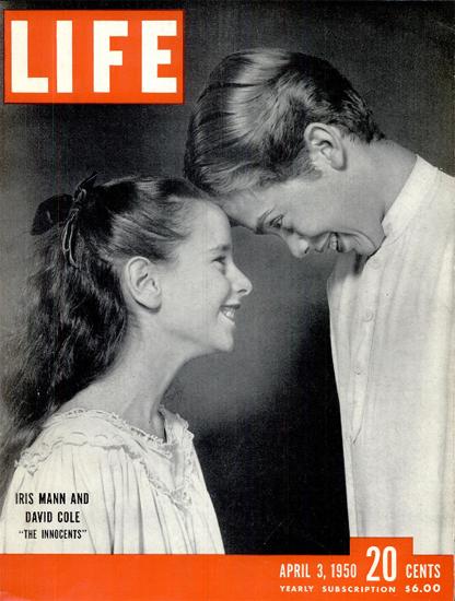 Iris Mann David Cole The Innocents 3 Apr 1950 Copyright Life Magazine | Life Magazine BW Photo Covers 1936-1970