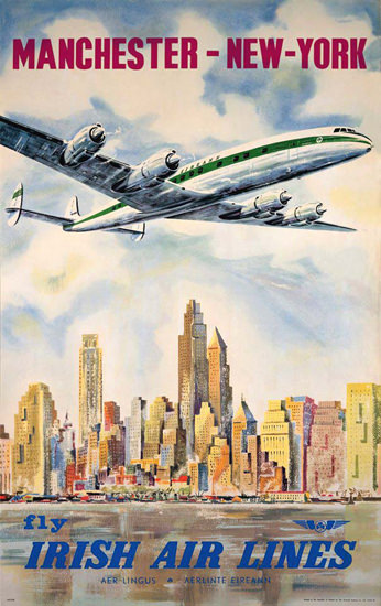 Irish Air Lines New York Super Constellation 1958 | Vintage Travel Posters 1891-1970