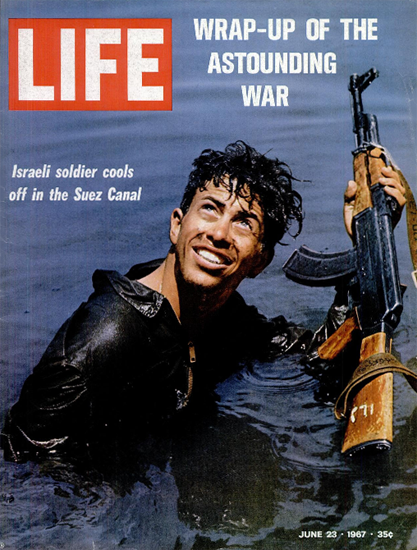 Israeli Soldier in the Suez Canal 23 Jun 1967 Copyright Life Magazine   Life Magazine Color Photo Covers 1937-1970