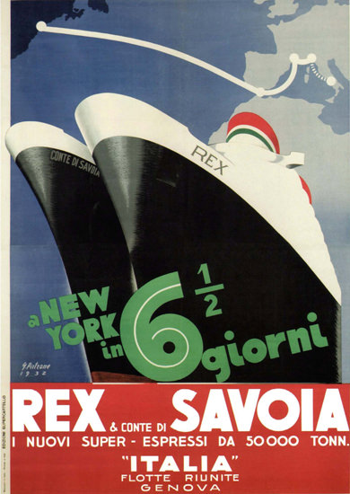 Italia Flotte Riunite Genova Rex Conte 1932 | Vintage Travel Posters 1891-1970