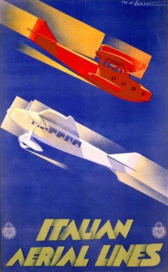 Italian Aerial Lines Airplanes Umberto Di Lazzaro | Vintage Travel Posters 1891-1970