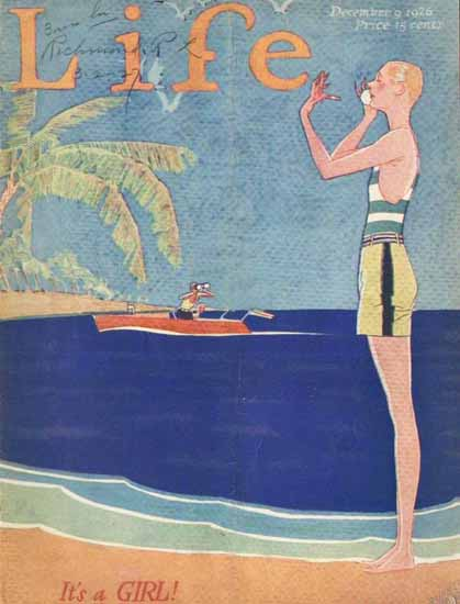 Its a Girl Life Humor Magazine 1926-12-09 Copyright | Life Magazine Graphic Art Covers 1891-1936