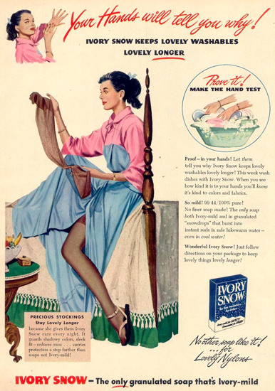 Ivory Snow Lovely Nylons Granulated Soap 1948 | Sex Appeal Vintage Ads and Covers 1891-1970