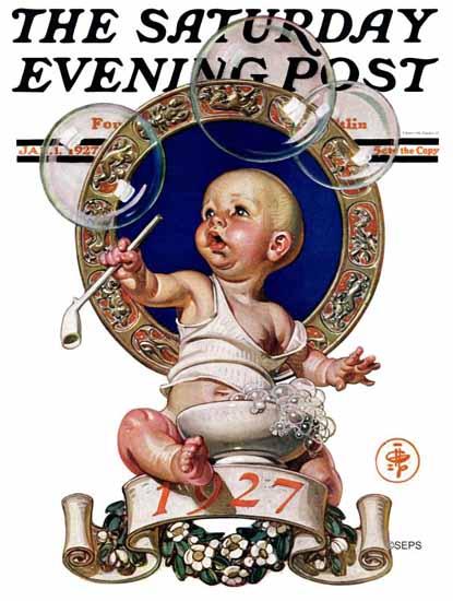 JC Leyendecker Artist Saturday Evening Post 1927_01_01   The Saturday Evening Post Graphic Art Covers 1892-1930