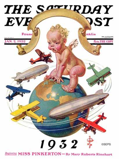 JC Leyendecker Cover Artist Saturday Evening Post 1932_01_02 | The Saturday Evening Post Graphic Art Covers 1931-1969
