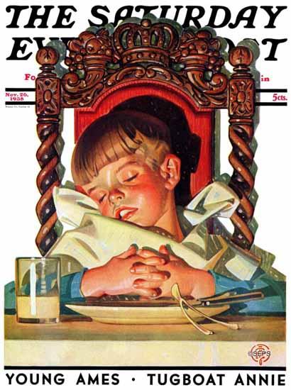 JC Leyendecker Saturday Evening Post After Turkey Nap 1938_11_26 | The Saturday Evening Post Graphic Art Covers 1931-1969