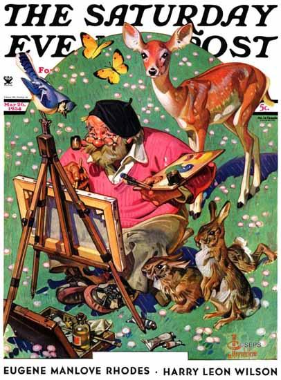 JC Leyendecker Saturday Evening Post Artist and Animals 1934_05_26   The Saturday Evening Post Graphic Art Covers 1931-1969