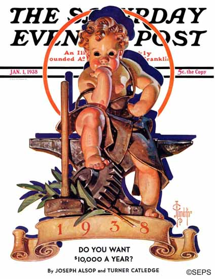 JC Leyendecker Saturday Evening Post Baby New Year Forge 1938_01_01 | The Saturday Evening Post Graphic Art Covers 1931-1969