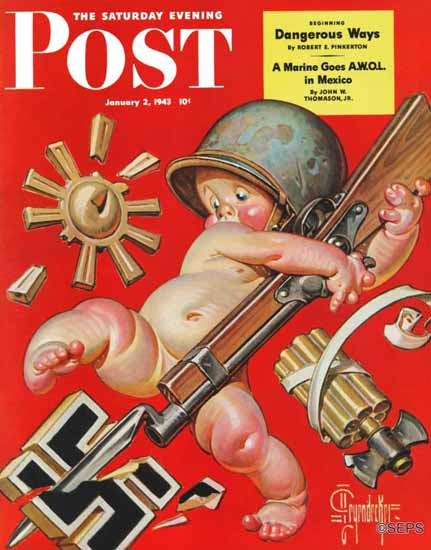 JC Leyendecker Saturday Evening Post Baby New Year at War 1943_01_02 | The Saturday Evening Post Graphic Art Covers 1931-1969