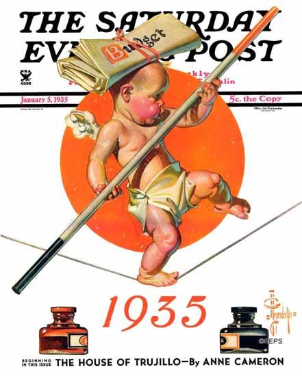 JC Leyendecker Saturday Evening Post Balancing the Budget 1935_01_05 | The Saturday Evening Post Graphic Art Covers 1931-1969