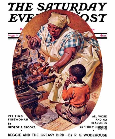 JC Leyendecker Saturday Evening Post Basting the Turkey 1936_11_28 | The Saturday Evening Post Graphic Art Covers 1931-1969