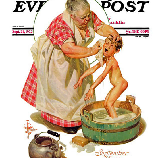 JC Leyendecker Saturday Evening Post Bath 1932_09_24 Copyright crop | Best of 1930s Ad and Cover Art