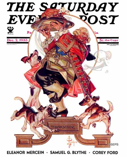 JC Leyendecker Saturday Evening Post Begging for Turkey 1933_12_02 | The Saturday Evening Post Graphic Art Covers 1931-1969