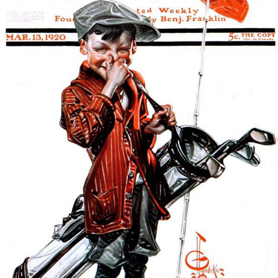 JC Leyendecker Saturday Evening Post Caddie 1920_03_13 Copyright crop | Best of 1920s Ad and Cover Art